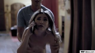Slutty babysitter Jane Wilde cheats on her BF while he is on phone!